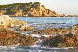 Nice landscape of the Spanish coastal in Costa Brava, Playa de A