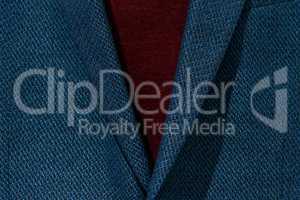 Closeup fashion image.body detail of a business man. blue wool suit closeup