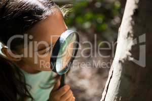 Little girl exploring nature through magnifying glass on a sunny day