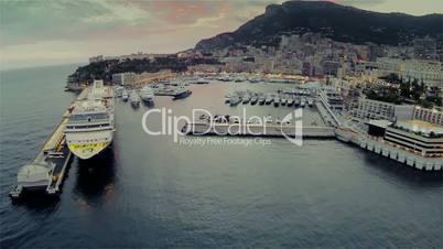 Monaco city town Monte Carlo Drone flight port yachts sea flats