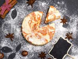 round dessert cheesecake with pumpkin