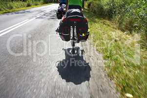 to travel by bike with friends, a long trip on the bike with cargo, loaded bike