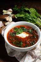 Tomato soup with spinach