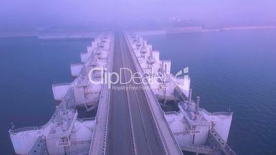 Truck towards Sea Fog and Disapeear , Saemangeum , South Korea, Asia