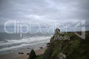Mussenden Temple with downhill beach