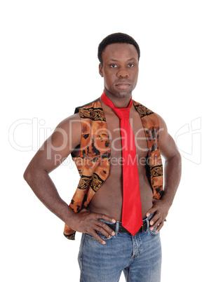Handsome African man in vest and tie