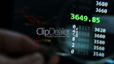 Financial background. Online stock exchange view through magnifier.  Business research.
