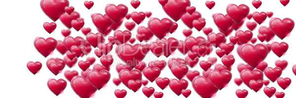 Valentines day pink heart on white background