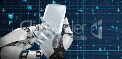 Composite image of robotic hand holding transparent smartphone