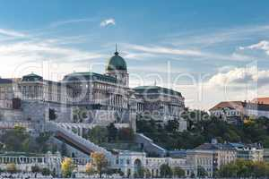 Panoramic city view of historic Royal Palace on the Buda Castle Hill.