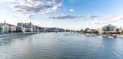 Panoramic city view of both sides of river Danube in Budapest, Hungary.