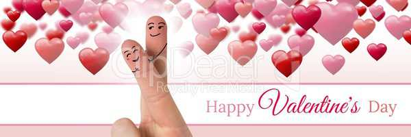 Valentine's fingers love couple and Happy Valentine's Day text and Bubbly Valentines hearts with emp