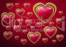 Shiny golden jewel Valentines hearts