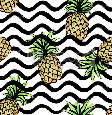 Abstract wave seamless pattern with pineapple. Stylish geometric background. Fruit ornamental wallpaper. Tropical food stripe texture