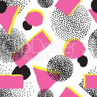 Abstract seamless pattern with blots and dots. Geometric dotted background