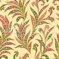 Floral leaf seamless pattern. Branch with leaves ornament. Arabi