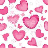 Doodle hearts different shape pattern. Love Valentine's day seam