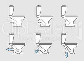 Toilet room furniture sign set. Bathroom interior toilet type ic