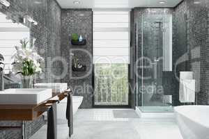 3d render of a modern bathroom.