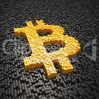 3d render - pixelated bitcoin symbol made from cubes - gold