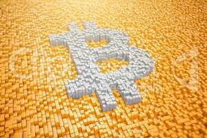 3d render - pixelated bitcoin symbol made from cubes - orange