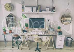 3d render - scandinavian nordic home office - retro look