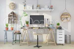 3d render - scandinavian nordic home office