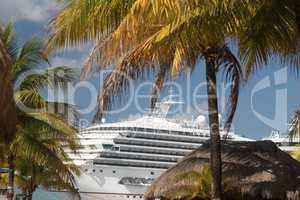 Cruise Ships Docked at Tropical Port of Call