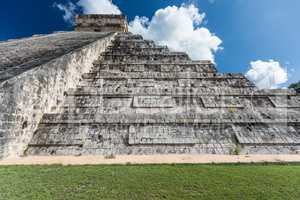Mayan El Castillo Pyramid at the Archaeological Site in Chichen