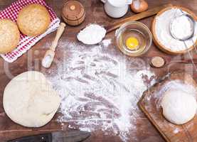 scattered wheat flour on the table