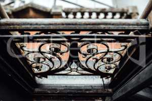 old vintage forged window rails with rust