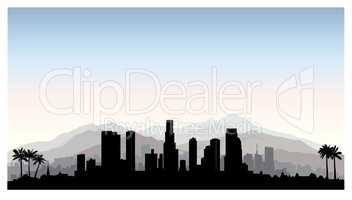 Los Angeles USA skyline. City silhouette, skyscraper buildings