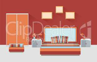 Home room interior. Bedroom furniture with bed