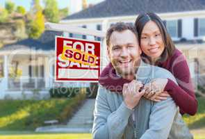 Mixed Race Caucasian and Chinese Couple In Front of Sold For Sal