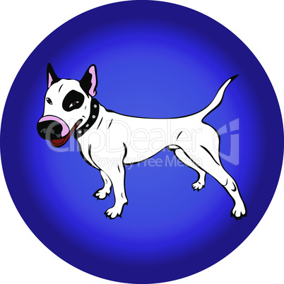 hand-painted white English bull terrier dog, contour drawing in cartoon style