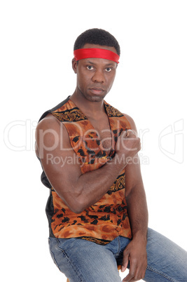 Serious looking African man in a vest