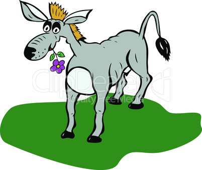 painted gray donkey with flower in mouth stands on green lawn, cartoon peronage