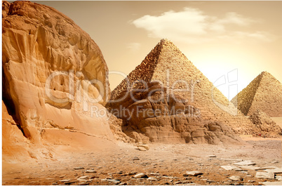 Pyramid and mountains