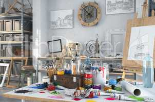 3d render - artistic equipment in a studio