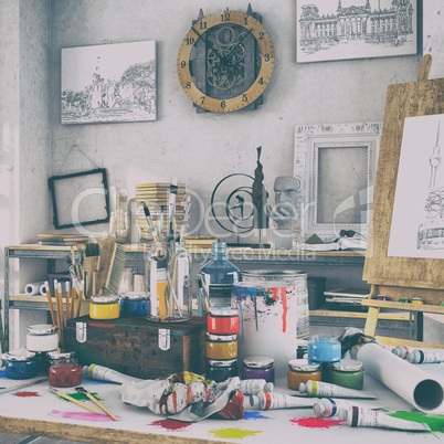 3d render - artistic equipment in a studio - retro look