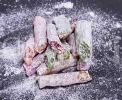 Turkish delight pieces powdered sugar
