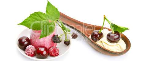Fruit ice cream and cherry isolated on white background. Wide ph