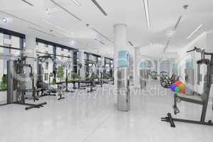 3d render of a fitness centre in a large, long building