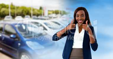 car sales woman thumbs up