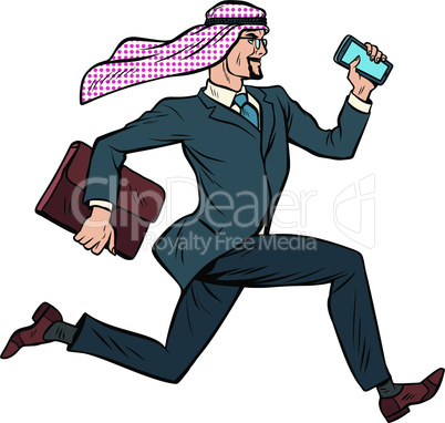 Running Arab businessman isolated on white background