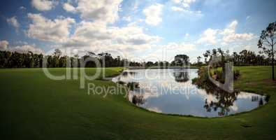 Pond and Lush green grass on a golf course