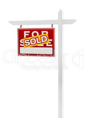 Left Facing Sold For Sale Real Estate Sign Isolated on a White B