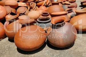 Background of a pots, dishes, and other articles made of baked c