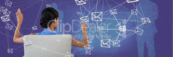 Woman touching mail connection interface