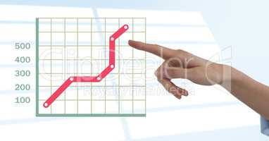Hand pointing with grid chart statistics